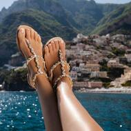 Fashion is the armor to survive the reality of everyday life. ✨  • • • • • • • • #sandali#sparkle#crystals#shine#custom#handmade#positano#amalficoast#fashion#design#italy#positano